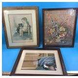 Lot of 3: Bessie Pease print, double matted and fr