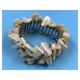 Stretch bracelet with raw mother of pearl chunks