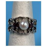 sterling silver  ring with garnet and cz size 6