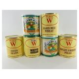 6 cans of dehydrated food stuffs including white s