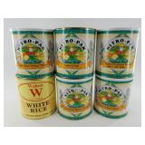6 cans of dehydrated food stuffs including white r