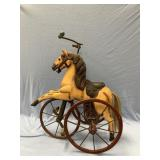 Antique Toy Tricycle with iron rims Porous hair ta