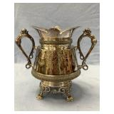 A beautiful silver plated 2 handle Urn with claw f