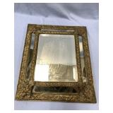 Antique beveled glass mirror beautiful brass and w