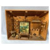 Diorama of an old home in a small town, approx. 14