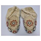 Pair of hand beaded youth slippers