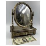 Silver plated jewelry mirror and drawer