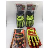 Four pairs of heavy duty mechanic gloves size SL &