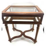 Wood and glass display case with beveled  glass li