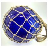 "11"" cobalt blue glass fishing net float with netti"