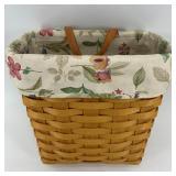 "Longaberger basket with plastic insert, 9.5"" tall"