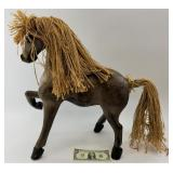 """Wooden horse with hemp mane and tale, 22"""" tall"""