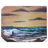 Original oil on canvas of waves crashing on the be