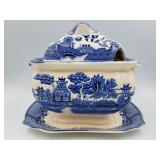 Japanese blue willow gravy dish and platter
