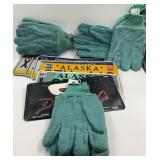 Box with 4 pair of wool gloves and an assortment o
