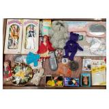 Case lot with dolls and accessories, sports cards,