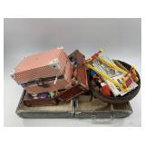 2 Dolls, traveling suitcases, beading loom, assort