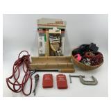 Box full of assorted tools, sand paper, etc.