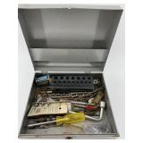 Metal tool box with assorted tools, drill bits, et