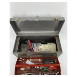 Metal tool box with assorted tools            (3)