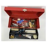 Metal Tool box with tools            (3)