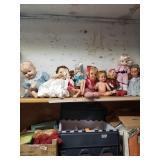 Shelf lot w/ miscellaneous vintage dolls, differen