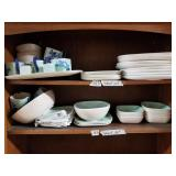 2 matching shelf lot with ceramic plates, cups, bo