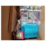 Lot with Christmas doll clothes in box, picture fr