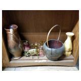 Shelf lot wooden basket, glass vase, brass deer, g