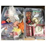 2 plastic totes full with dolls and doll clothes