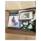 2 boxes with misc. items including picture frames,