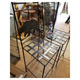 Lot with 2 metal frames chairs featuring a bear an