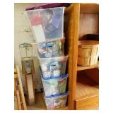 Large lot with plastic totes with stuffed animals,