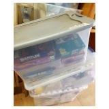 3 plastic totes with doll clothes, toys, dolls, et