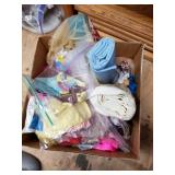 Shelf lot with doll clothes , dolls accessories, s