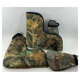 Pair of insulated camo boot covers, and elbow pads