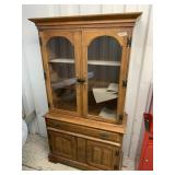 Wooden China cabinet w/glass doors, dimensions are