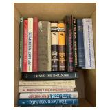 Box lot with books, bell of Africa, hunting books,