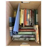Box lot with misc. books, gun books, hunting books