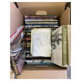 Box lot with gun and hunting books, etc.     (P 59