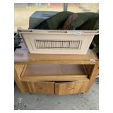 Lot with wooden tolling food cart with doors and s