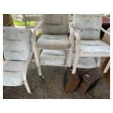 Lot with outdoor metal chairs and home speakers