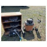 Lot with wood case wheel caps, water pump shop-vac