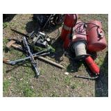 """Lot with Poulon 16"""" chain saw, vacuum pump, axe, c"""