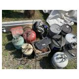 Large lot with gear oil transfer pump, chains, veh
