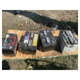 Lot with used automotive batteries unknown conditi