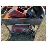 Mechanical cart w/lift, wire feed welder brand is
