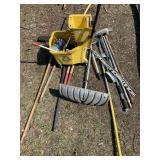 Large lot with push brooms, post digger, mop bucke