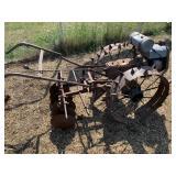 Vintage metal spike wheel tiller, 2 cylinders unkn