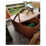 Large lot with picnic basket with plastic plates a